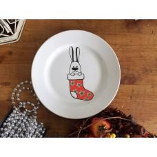 Тарелка глубокая Рождественский кролик 20 см